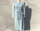 size S / 1970s does 40s mint condition light blue Pat Sandler knit suit with rhinestones
