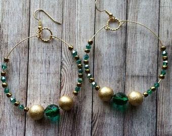 Bead Earrings, Blue-Green and Gold Hoop Earrings