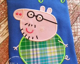 Green & Blue Daddy Pig Peppa Pig Family Birthday - Embroidered Birthday Shirt - Customizable - Adults 109