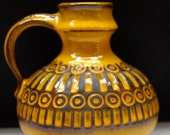 "Ceramano ""Sunset""vase rare Yellow Lava West German Pottery 60s Eames era Mid century Fat Lava blue Turquoise"
