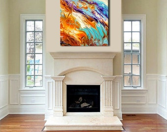 Oversized Abstract Canvas Print, Boho Wall Decor, Pastel, Extra large wall art, Resin Art Painting, Unstretched Canvas, Extra Large wall art