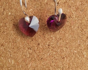 Heart Purple Swarovski Earrings, Sterling Silver Swarovski, Heart Purple Swarovski, Swarovski Earrings Jewelry