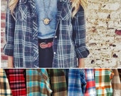 2 Oversized Flannels Plaid Shirts/Cuffed/Hipster/Plaid Shirts/Unisex/Boho Plaid Shirts