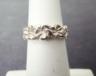 Sterling Silver Plumeria Ring Sz.4 3/4 R119