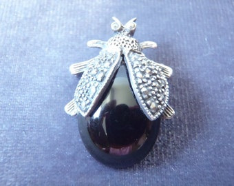 Sterling Silver Onyx Marcasite Lady Bug Brooch  BR8
