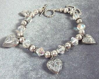 Sterling Silver Forget Me Not Heart Crystal Toggle Bracelet B36