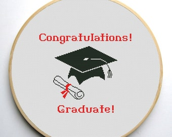 Graduation Cap 2 Cross stitch pattern PDF Instant Download