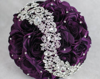 Ready to ship! 8'' Purple and Silver wedding brooch bouquet, Jeweled Bouquet.