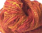 Hand Spun Yarn Luxury Camel and Silk in Bright Orange/Yellow/Pink 211yards