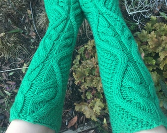 Green cable merino wool fingerless gloves Ready to ship
