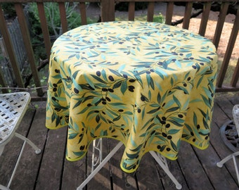 "Round tablecloth. 40""diameter. Bistro tablecloth. Oilcloth. Cotton coated.Fabric from Provence, France. Olives in yellow"