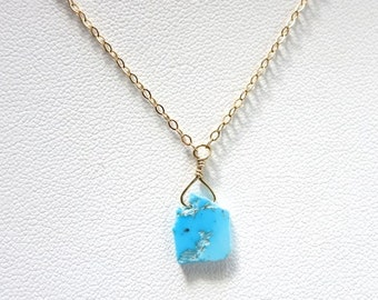 Turquoise slice necklace, Arizona turquoise raw slice pendant, turquoise slice 14 k gold fill chain, beach boho layering necklace, gift idea