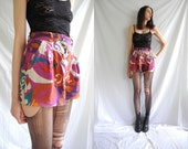90s hippie high waisted multicolour abstract floral printed shorts.