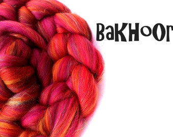 Blended tops - Custom blend - 23 micron Merino - Bamboo - Firestar - 100g - 3.5oz - BAKHOOR