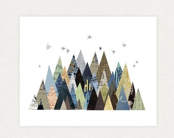 Mountain Art Print - Mountain Collage Illustration Art Print - Woodland Print