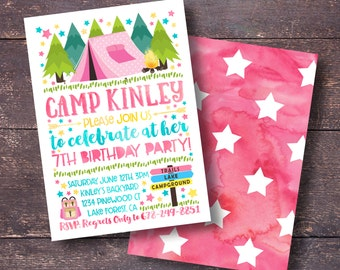 Girl's Camping Invitation, Camping Invitation, Pink Camping Invitation, Girl Camp Out Invitation, Camp Out Invitation, Girl's Camping Invite