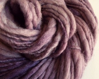 Purple handspun wool yarn, thick and thin knitting yarn, chunky merino knitting wool, light grape to mid purples, big knitting wool