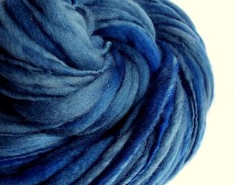 Blue thick and thin yarn, chunky merino knitting wool, mid to light denim / royal blues, big knitting wool