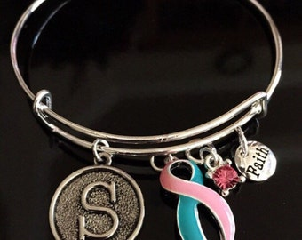 Thyroid Cancer Awareness Bracelet - Silver Adjustable Wire & Charms - Pink and teal Ribbon Survivor Gift - Hope Courage / Previvor BRCA