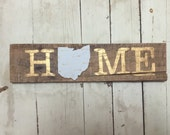 Gold font with teal fabric and tiny gold arrows Home sign