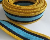 Tote Bag Strapping. 9m (9.8yards). Thick Cotton Webbing. Bag making supplies. Yellow, Navy, Blue Striped. 3.8cm wide.
