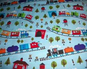 Crib/toddler fitted sheet - Train, scenic blue cotton