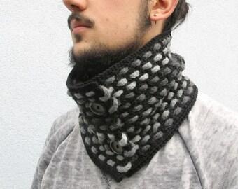 Scarf, Neckwarmer Men Neckwarmer Crochet Cowl Scarf, Soft Crochet Scarf, Knit Neckwarmer, scarf with buttons