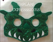 Dress Up Play Mask - Dragon - Kids Costume, Pretend Play, Imaginative Play, Cosplay - Shiney Green Scales