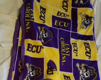 "Hand Crafted NCAA East Carolina Pirates Fleece Blanket 49"" X 54"" NEW"