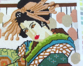 "Oriental Geisha Completed Needlepoint Tapestry Creative Dimensions #2092 Vibrant Colors 16"" Square"