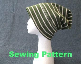 summer winter slouchy beanie sewing pattern, jersey geek hat pattern, men women girl boy slouch beanie pdf sewing pattern, instant download