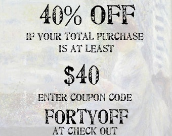 Xtra Savings COUPON CODE: 40% off if your purchase is at least 25 dollars; Use coupon code FORTYOFF; (please do not purchase this listing)