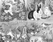 Four Cute Critters grayscale coloring Pages