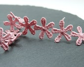 Rose Pink Daisy Flower lace Trim 12mm