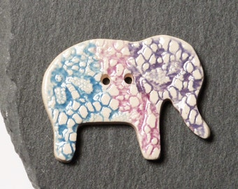 Ceramic Button Elephant Shape White, Purple And Blue Lace Indian Inspired Pattern