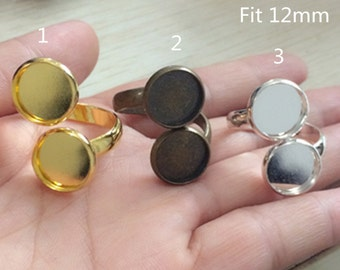 6pcs  Mixed Color 12mm Bronze Ring Base Gold Ring Base Silver Ring Base