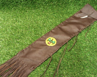Native American Style Leather Flute Bag / Pipe Bag 59 cm x 13 cm