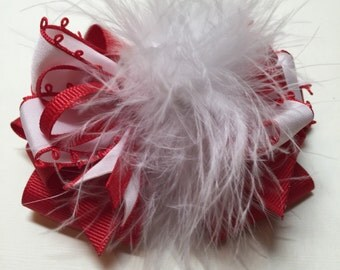 4 inch Red and White Marabou  Over the TOP Festive Valentines Day Hair Bow Unique Boutique Toddler