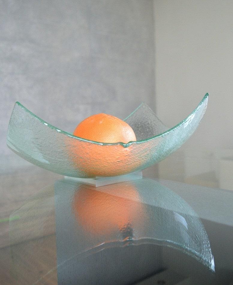 Modern Minimalist Fused Glass Fruit Bowl Centerpiece By