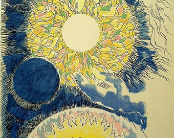 """Abraham Rattner, Signed & numbered Lithograph """"Let there be light"""" Portfolio """"In the beginning"""""""