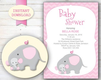 Baby Shower Invitation, New Baby announcement, Elephant baby shower, Baby showers gifts, cute elephant baby shower, Baby Invitations Girl