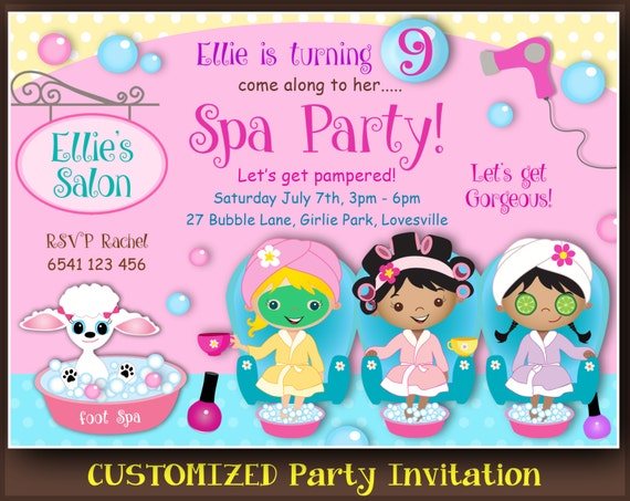 CUSTOMIZED Spa or Pamper Party invitations Pedicure Party