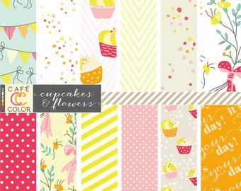Floral Birthday digital paper in pink, orange and yellow. Flowers, cup cakes, bunting, confetti, chevron patterns. 12 PNG for toddler girls.