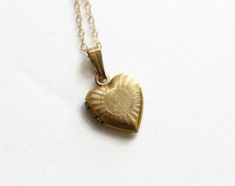 Vintage Gold Filled Locket Necklace, Dainty and Tiny Heart Heart Locket, Circa 1950's