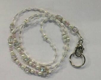 Beaded Lanyard, Beaded ID Badge Holder, Beaded ID Tag Holder Lanyard, Pretty Lanyard,Lanyard Necklace, Gift for Her, Office Jewellery