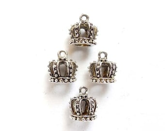 4 Antique Silver Crown Charms -21-26-5