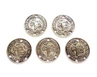 5 Antique Silver Tughra Coin Connector/Charms - 1-AS-12