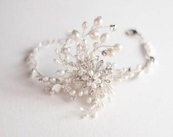 Bridal Bracelet. wedding jewelry. Swirling Pearls Bridal bracelet. Wedding bracelet. Freshwater Pearl Rhinestone Bracelet.