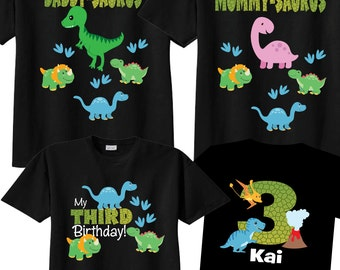 3rd Birthday Shirts with Dinosaurs Family Birthday Shirts with Dinosaurs on BLACK Shirts