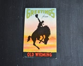 Vintage Wyoming Souvenir Postcard ~ Cowboy and Bucking Bronco ~ Old Wyoming ~ Greetings From Postcard ~ Linen Postcard